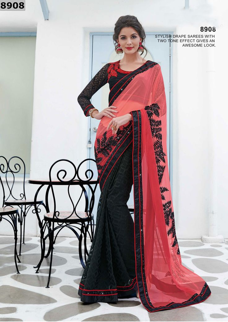Design and style and pattern would be at the peak of your splendor when you attire this black brasso and net designer saree. The enticing embroidered and patch border work a substantial characteristic of this attire. Comes with matching blouse. (Slight variation in color, fabric & work is possible. Model images are only representative.)