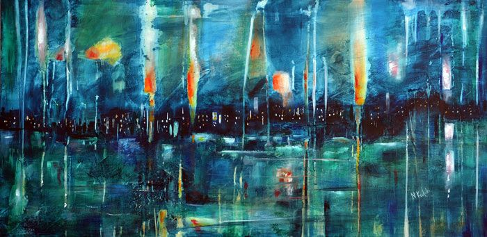 """""""Fireworks"""" is an abstract acrylic painting """"...is coming"""" is an abstractsea painting by Niki Katiki"""