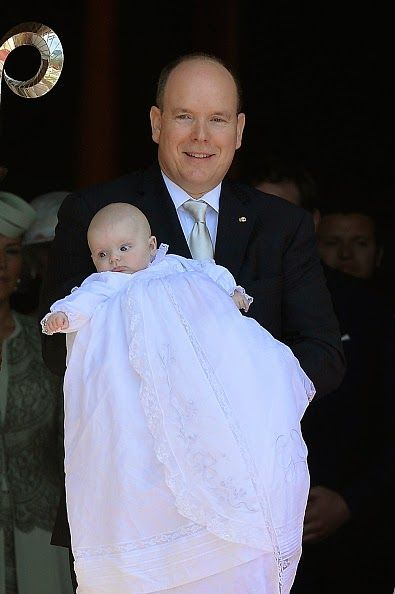Prince Albert II of Monaco and Princess Gabriella of Monaco attend The Baptism Of The Princely Children at The Monaco Cathedral on May 10, 2015 in Monaco, Monaco.
