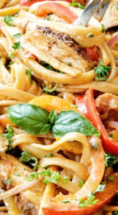 Cajun Chicken Pasta in Sun-Dried Tomato Alfredo Sauce