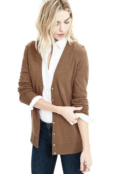 Camel sweater, white button down