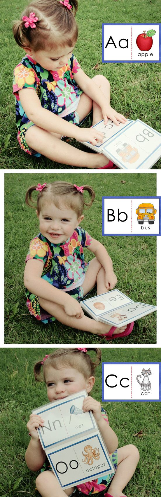 """What's the best way to introduce your toddler / preschooler to the alphabet?  Colorful, interesting pictures, of course!  These 4x6 cards are perfect for printing as photos and inserting into """"brag books.""""  Pictures were carefully chosen by a reading teacher (me!) - most consonants are accompanied by CVC words.  This is one of three flashcard sets in my ABC Beginners Cards.   #education #literacy"""