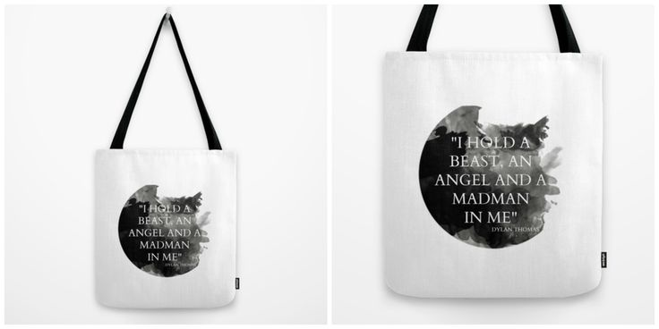 """Dylan Thomas """"I hold a beast, an angel and a madman in me."""" - Tequila Motel  #tequilamotel #indie #indiefashion #totebag #bookbag #shoppingabg #grocerybag #bag #purse #causal #streetwear #streetfashion #fashion #graphicdesign #art #toronto #califronia #designer #blackandwhite #minimalist #artonclothes #artisticfashion  #literature #fortheloveofliterature #quote #books # poet #author #bookworm #dylanthomas"""