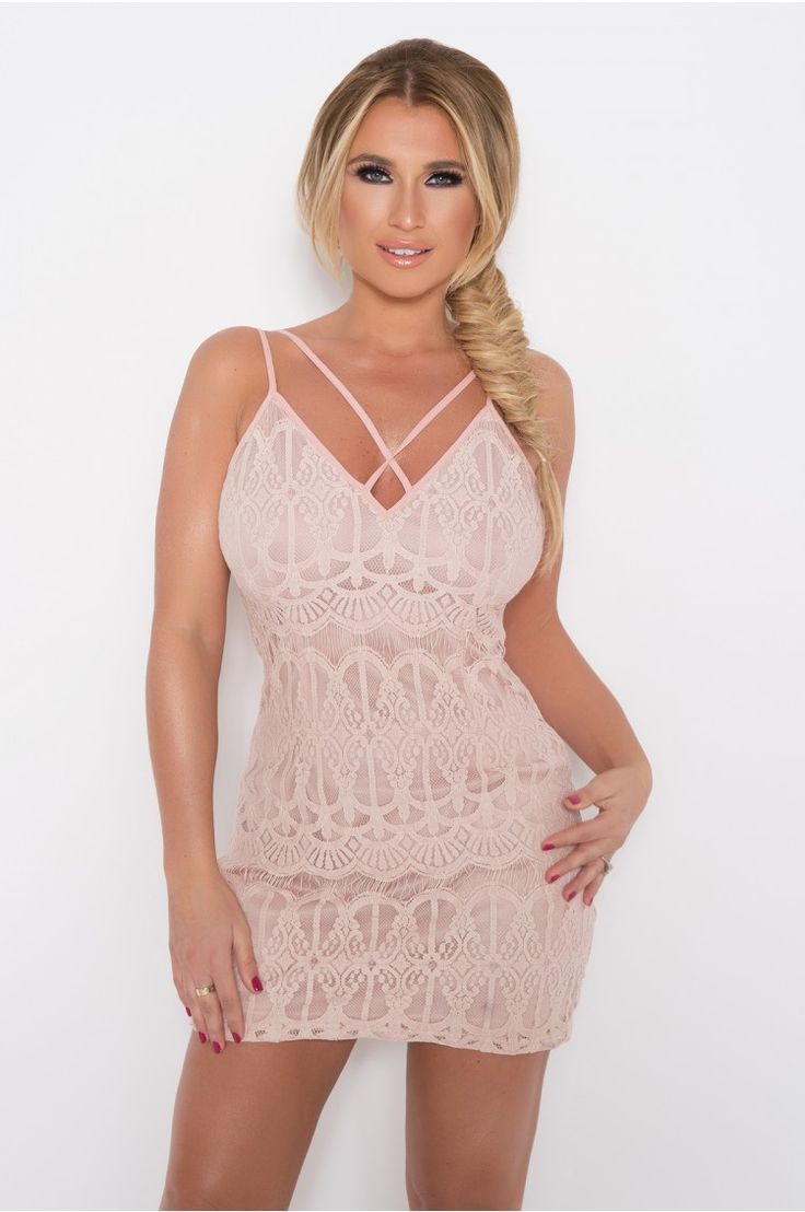 Billie Faiers Rose Lace Strappy Harness Dress