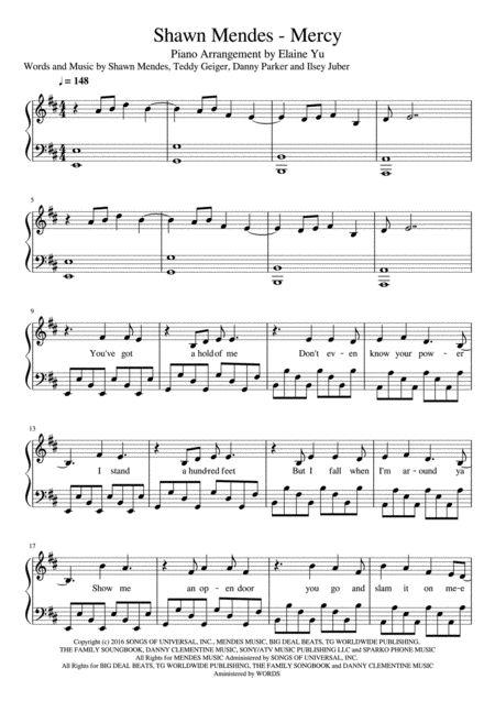 Shawn Mendes - Mercy Piano Sheet Music: http://www.sheetmusicplus.com/title/mercy-digital-sheet-music/20426681?ac=1