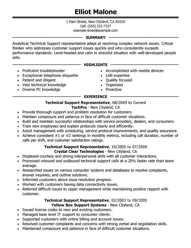 Technical Support Resume Sample Resume Examples No Experience