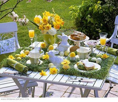 """Love this outdoor Easter table--especially the """"grass"""" placemats."""