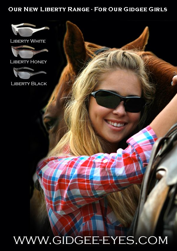 Gidgee Eyes Equestrian Sunglasses. The Essential Christmas Gift for your favourite equestrian. Pictured are Gidgee Liberty Range http://www.equinetrader.co.nz/directory/gidgee-eyes-equestrian-eyewear/