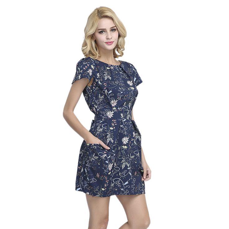 Nova moda do vintage impresso vestidos de noite vestido de festa de Verão bolsos cinto cintura fina mulheres vestido de lazer vestido vestidos ED46 em Vestidos de Das mulheres Roupas & Acessórios no AliExpress.com   Alibaba Group