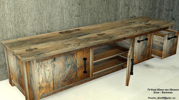 TV Kast 200x50x50 cm Made by Combination old Recycle Teak Hout