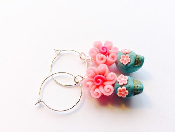 Sugar Skull Earrings Pretty Pink and Turquoise Day of the Dead Jewelry