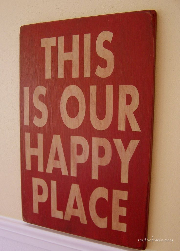 """This Is Our Happy Place - 12"""" x 18"""" Plywood Hand Painted Sign. $36.00, via Etsy."""