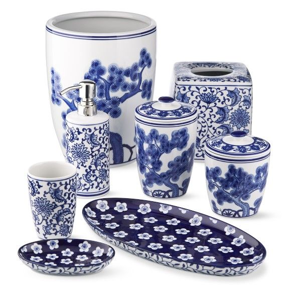 Blue And White Ceramic Bath Canister Blue White Decor Blue And White White Ceramics