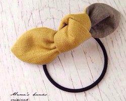 おしゃれな リネン カーキx 黄色 リボン ヘアゴム♪