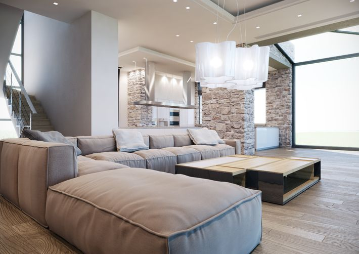 Luxury House Living Room by Stratos D. Zolotas, via Behance                                                                                                                                                                                 More