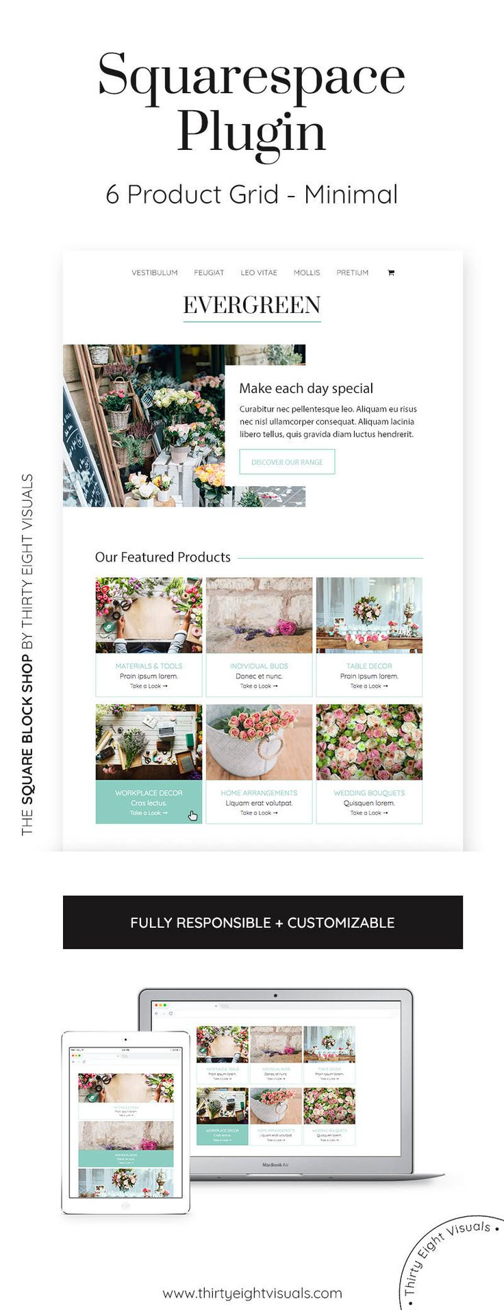 Squarespace plugin - This 6-block grid is perfect for showcasing your featured products or services in a unique way! Click to see it.