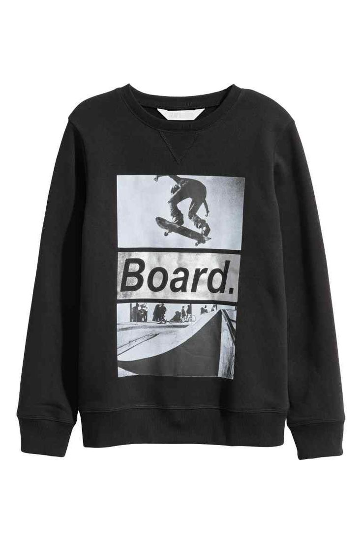 Sweat-shirt avec impression - Noir/skateboard - ENFANT | H&M BE