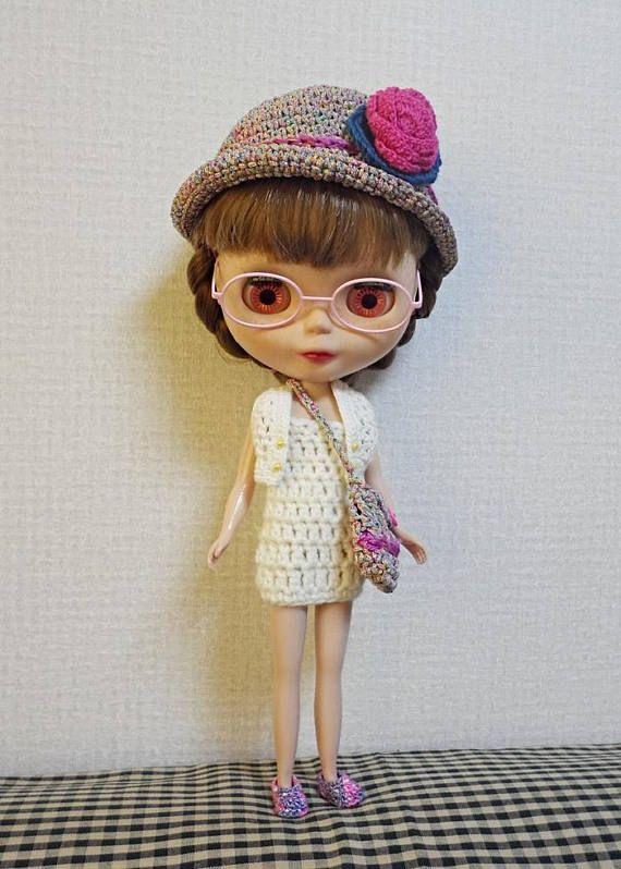 blythe dress crochet doll clothes dress and hat set