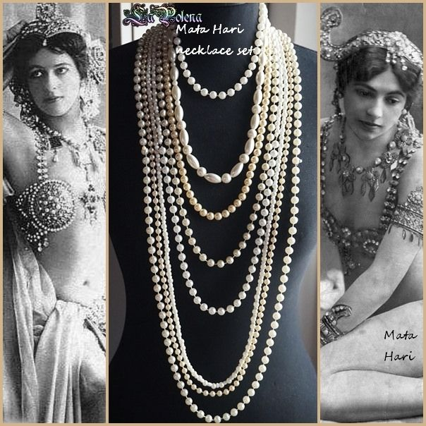 https://flic.kr/p/Rjp1Yu | Mata Hari necklace set | Recycled vintage jewelry components, pearlized glass beads, acrylic, lucite and plastic beads. Multistrand long necklaces.
