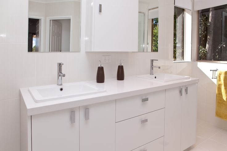 Create your own space with double basins and mirrors. www.onecallkitchens.com.au