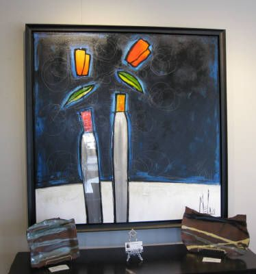M�lan (M�lanie Simard), Eclectique union, Mixed Media on Canvas 40 X 40 in.