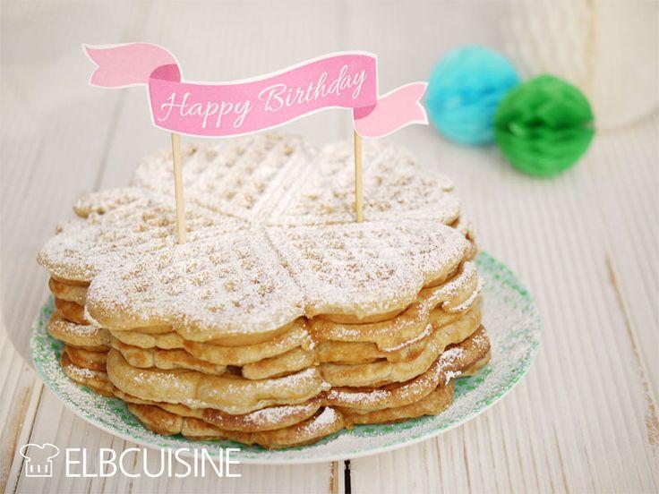 Knusprige Frühstückswaffeln zum Geburtstag – Knuspergeburtstagsgruß fürs Knusperstübchen