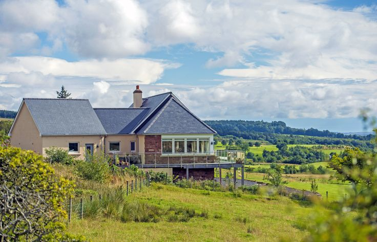Stone and Render mix, Balcony, Slate roof, Countryside view, Hipped roof