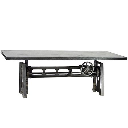 Heavy Steel Industrial Dining Table With Crank For Adjustable Height Material