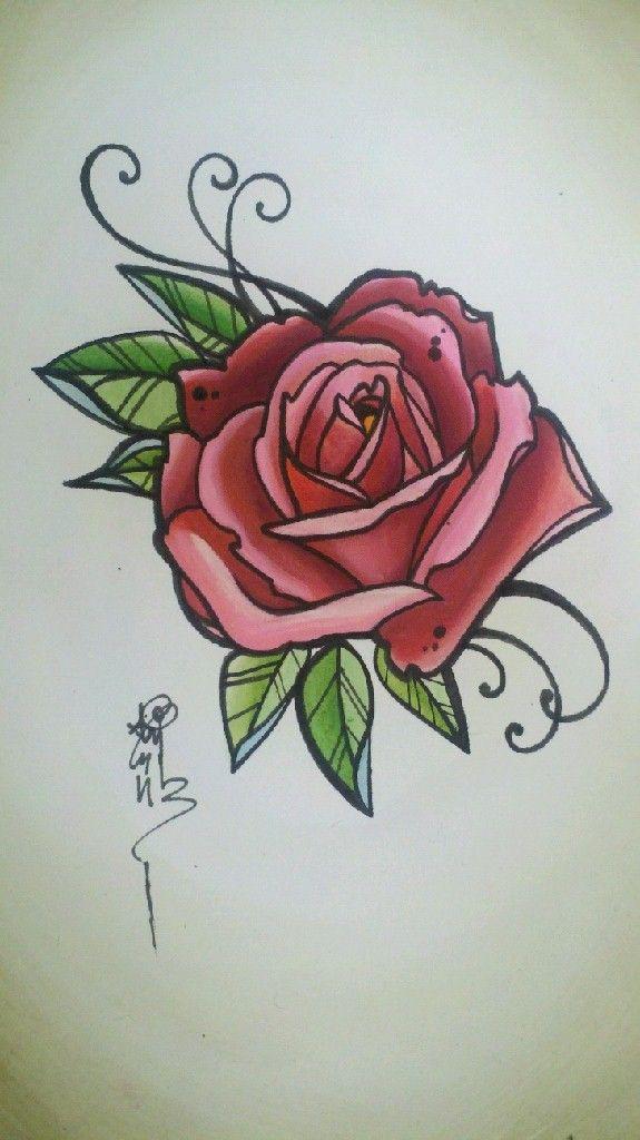 vintage rose tattoo