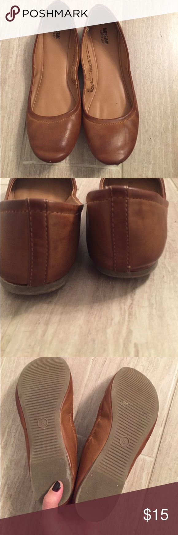 Camel ballet flats Faux leather. In great condition Mossimo Supply Co Shoes Flats & Loafers