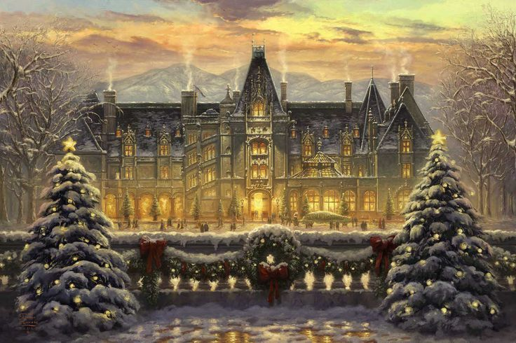 Christmas at Biltmore becomes a work of art with this Thomas Kinkade Studios painting. Perfect for holiday decorating!