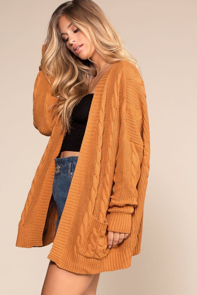 024ccb23d72 Cozy Cable Oversized Cardigan Sweater - Camel in 2019 | cute outfits ...