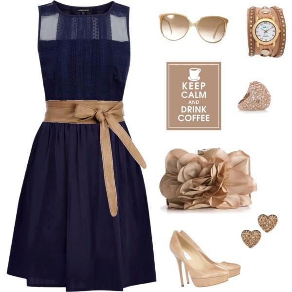 Women's Fashion:Navy blue & tan outfit idea