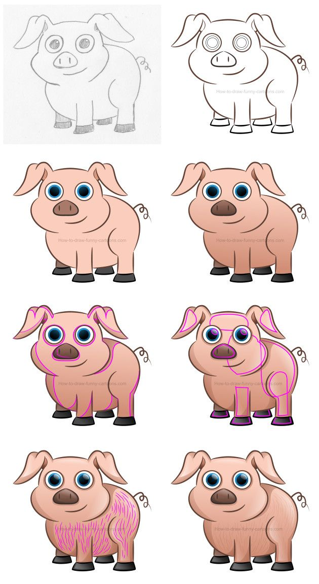 Learn how to create a beautiful cartoon pig filled with shadows, highlights, textures and realistic eyes. #howtodraw #drawinglessons #cartoonpig