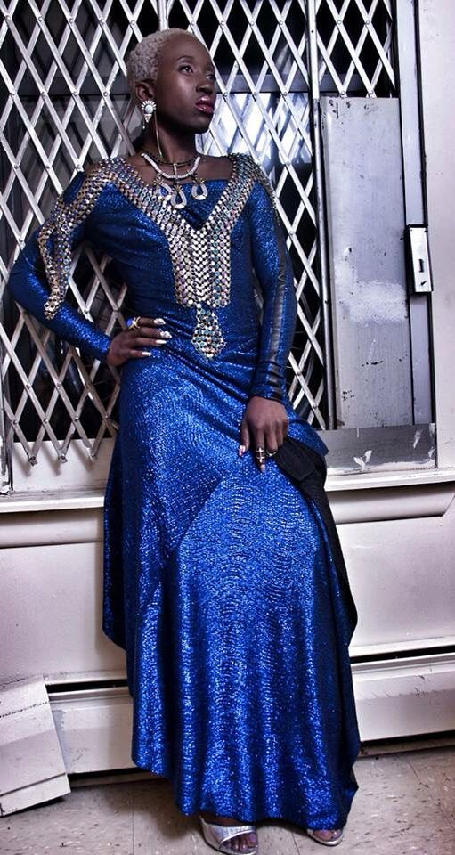 YahZarah Ms. Purple St. James singer wears MIMA dress USA DapperAfrika stylist