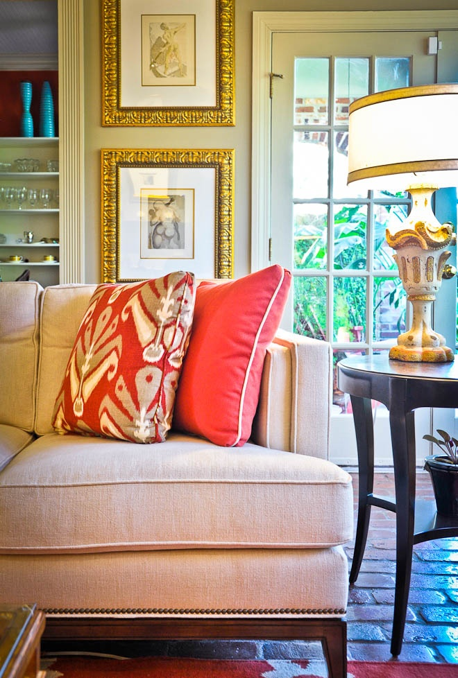Sofa Pillows Contrast Welt Piping Ikat Interior Design By Todd Lafayette LA