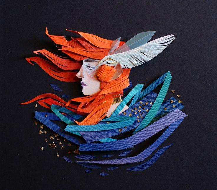 A artista canadense Morgana Wallace usa recorte de papel para criar composições que são verdadeiras ilustrações 3D