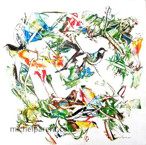 Les oiseaux (The Birds), 2013 acrylique sur toile,60 x 60 cm, 3600 USD