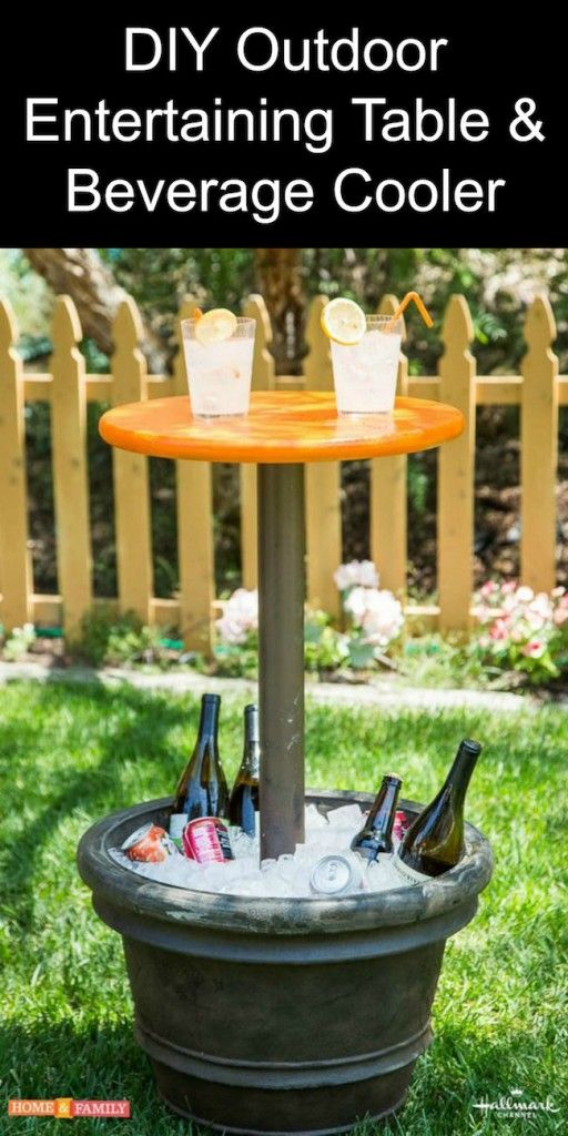 DIY outdoor table and beverage cooler from the Hallmark Chanel