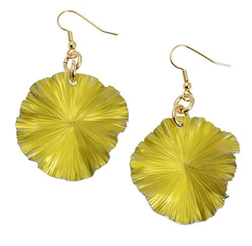 Yellow Anodized Aluminum Lily Pad Earrings by John S Brana Handmade Jewelry - High-Quality Durable Anodized Aluminum - Super Lightweight Earrings - Hypoallergenic - Lifetime Guarantee