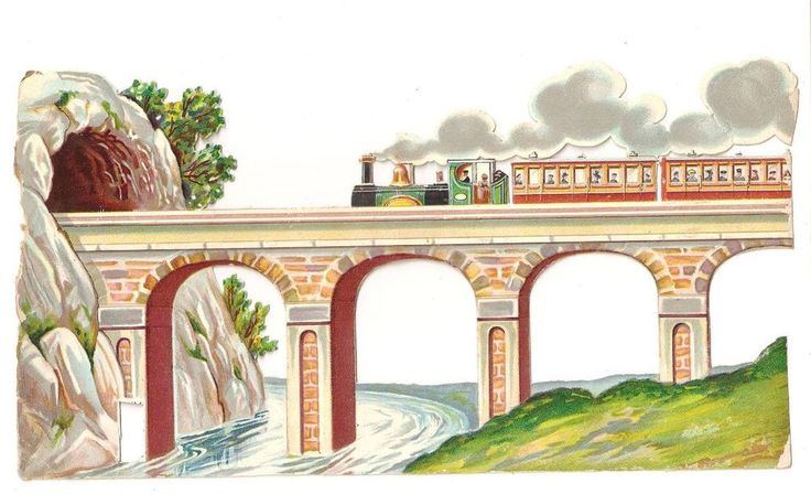 D37 - EXTRA LARGE VICTORIAN SCRAP - STEAM-TRAIN AQUADUCT TUNNEL - DIECUT OBLATE