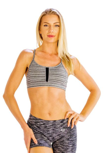 #Workout in #Style in #Grey #Striped #Sports #Bra, #Get it #Online at #Alanic