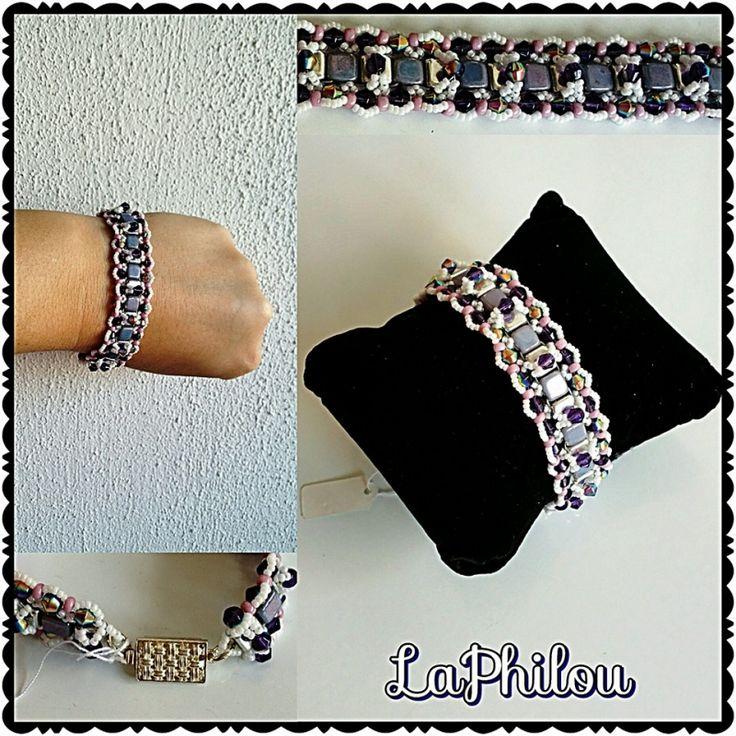 Beadwork crossing path bracelet  - LaPhilou