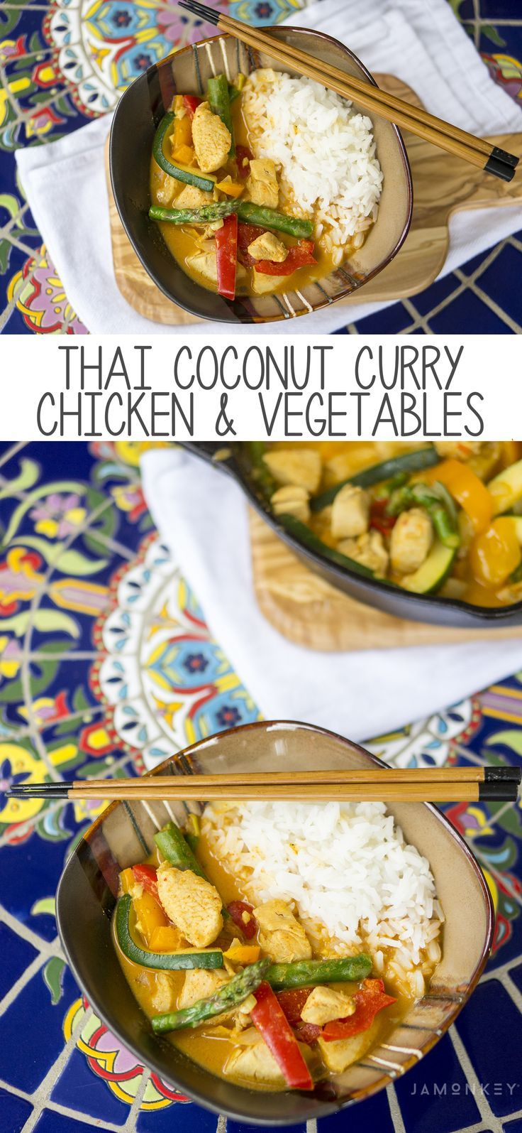 This Thai Coconut Curry Chicken and Vegetables is loaded with flavor and is dairy and gluten free. @lovemysilk #ad