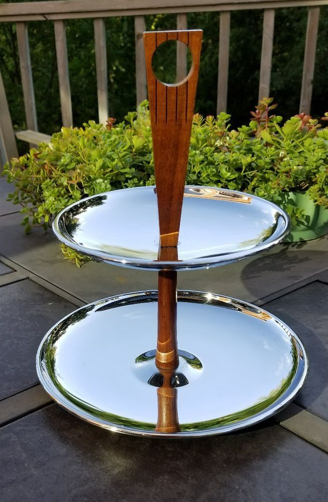 Vintage Mid Century Modern KROMEX Tiered Serving Tray 2 Tier Silver Chrome Wood