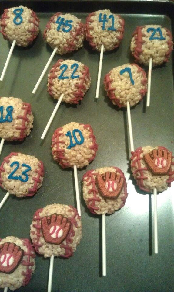 Baseball rice krispy treat pops