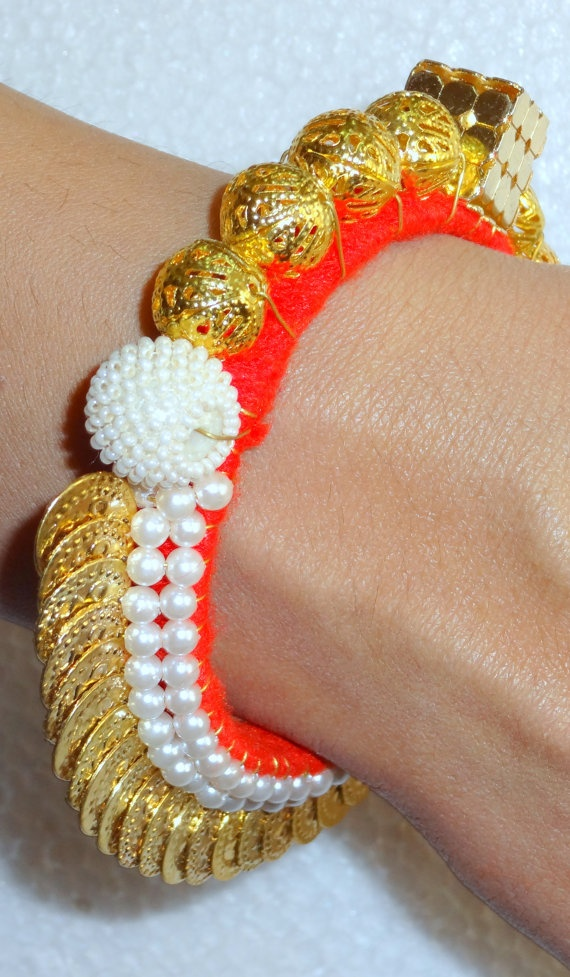 Indian Beaded Bracelet Bangle  Coin and brass findings by uDazzle