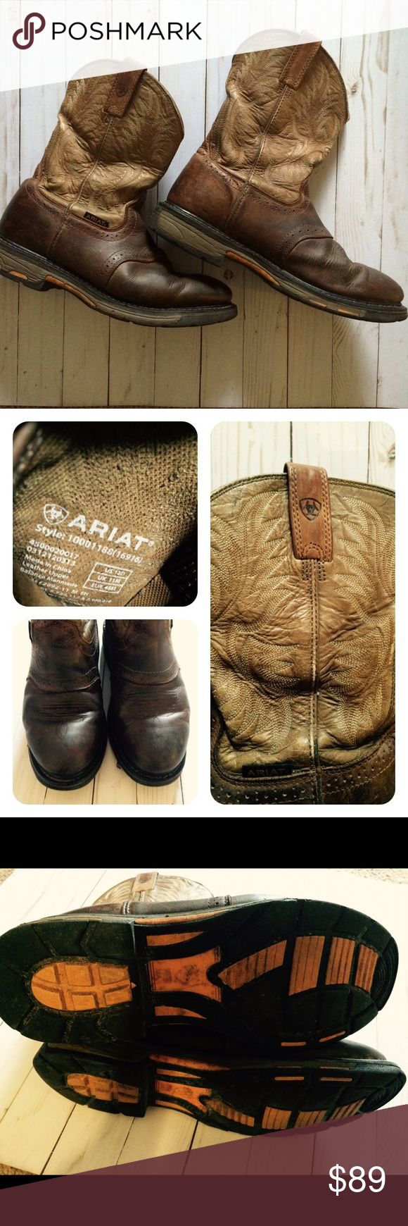 Men's Ariat Working H2O Workhog Work Boots Round toe. Previously worn and show signs of wear. Please see pictures. Size 12D Ariat Shoes Boots