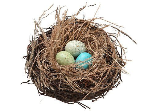 Artificial Bird Nest with Eggs in Blue and Green - 5in. Diameter
