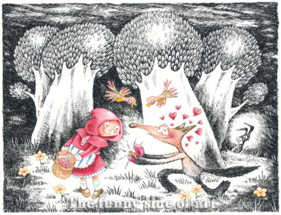 Little Red Riding Hood and the Big Bad Wolf   No 3, Giclee print of Original pen & ink, watercolor child illustration, Funny Valentine gift